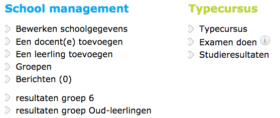 TICKEN Leerkracht menu